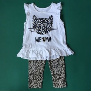Other - Adorable Wild Cat Top And Leggings Set - Size 2T